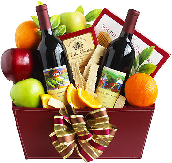 Double Wine and Fruit Gift Basket