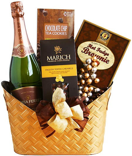 Romance gift baskets romantic gifts romance basket romantic golden champagne chocolate gift basket sciox Image collections