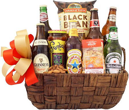 Image result for beer basket gifts photo